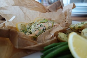 Salmon in a bag with Buttered New Potatoes and Fine Beans